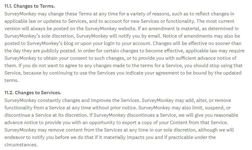 Surveymonkey Terms of Use: Changes to Terms and Changes to Services clauses