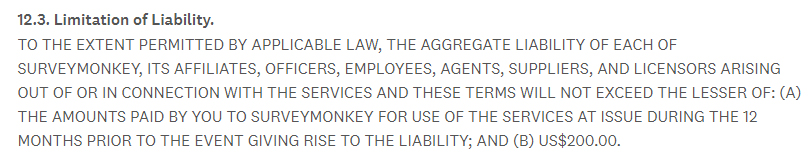 Surveymonkey Terms of Use: Limitation of Liability clause