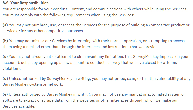 Surveymonkey Terms of Use: Excerpt of Your Responsibilities clause