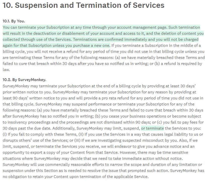 Surveymonkey Terms of Use: Suspension and Termination of Services clause