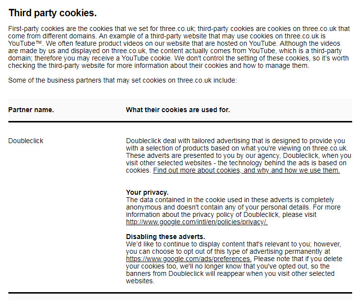 Three Cookies Policy: Third party cookies clause
