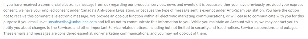 Unbounce Privacy Policy: Excerpt of clause about opting out of commercial messages and contact