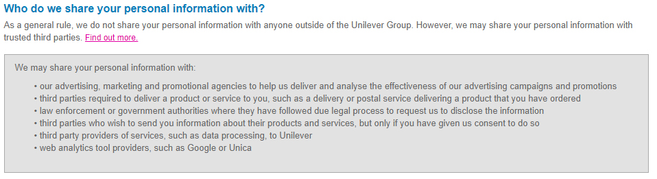 Unilever Privacy Policy: Who do we share your personal information with clause