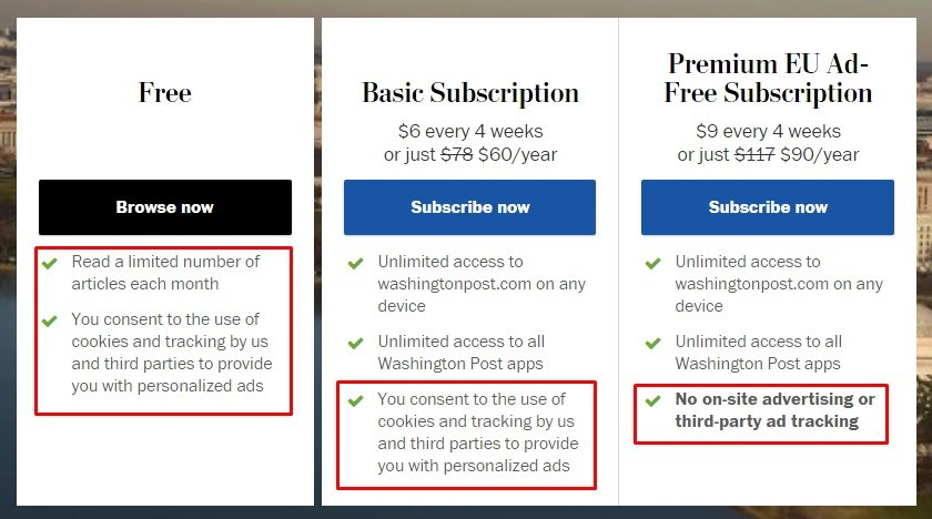 Washington Post subscribe page with different options and consent to cookies highlighted