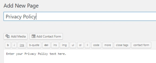 Screenshot of Add New Page section in WordPress with Privacy Policy text added