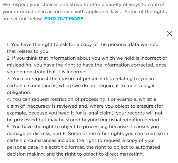 Excerpt of the Workspace Privacy Policy Rights page