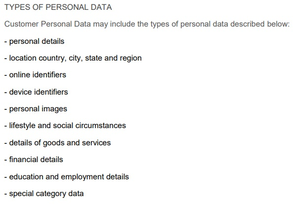 Bitrix Data Processing Agreement: Types of Personal Data clause