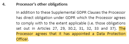 Caci Supplemental GDPR Clauses: Processor's other obligations - DPO