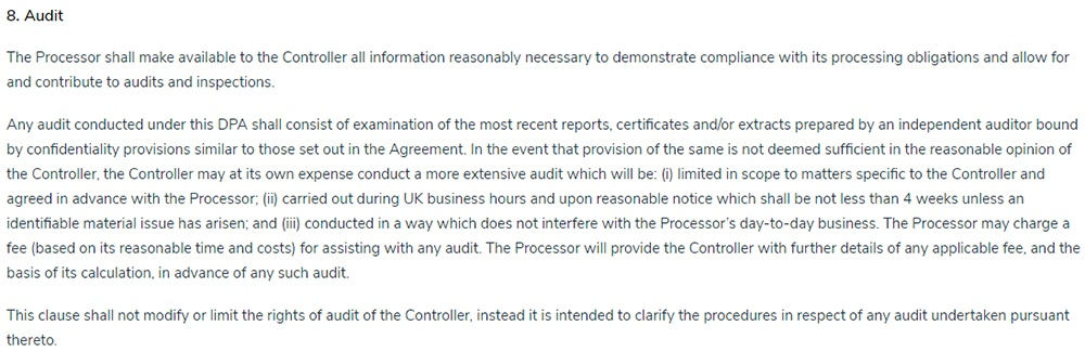 Capsule Data Processing Agreement: Audit clause