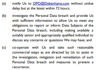 Debenhams Data Processing Agreement: Breach requirements clause