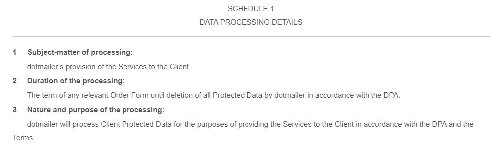 Dotmailer Data Processing Addendum: Excerpt of Schedule 1 Data Processing Detai