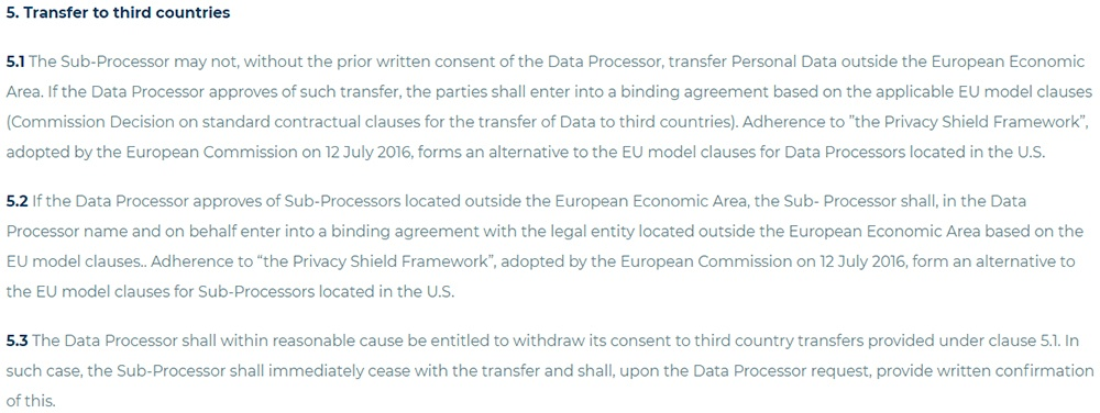 Edgecumbe Data Processing Agreement: Transfer to third countries clause