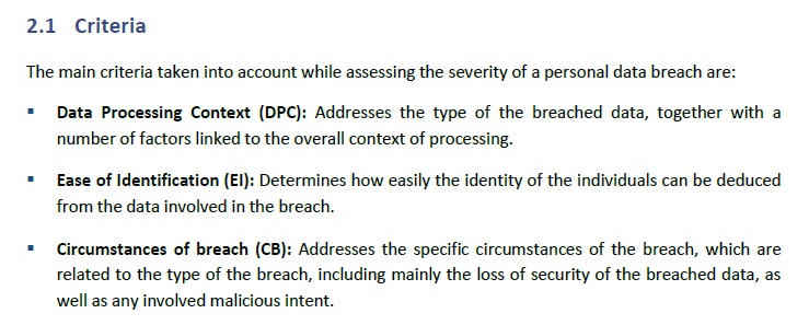 Screenshot of ENISA Recommendations for a Methodology of the Assessment of Severity of Personal Data Breaches