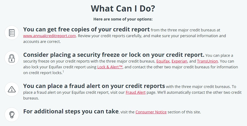 Equifax 2017 Cyber Security Incident consumer options list