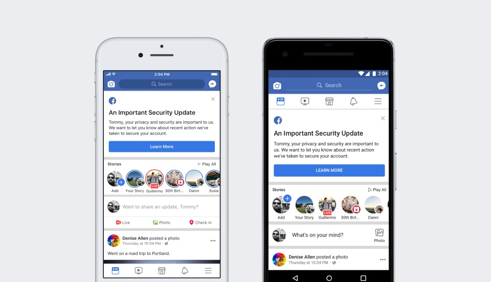Facebook Newsroom: Important security update mobile notification screenshot