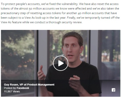 Facebook Newsroom: Important security update video screenshot