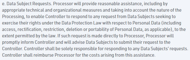 Float Data Processing Agreement: Data Subject Requests clause