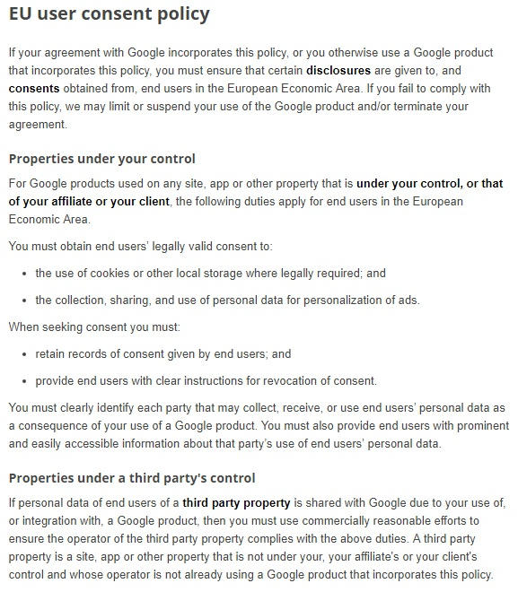 Google's updated EU User Consent Policy