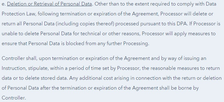 HubSpot Data Processing Agreement: Deletion or Retrieval of Personal Data clause