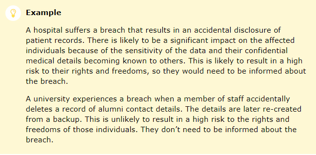 ICO Personal Data Breaches for GDPR: Example of high risk breach