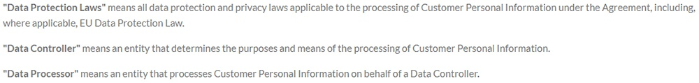 Inline Manual Data Processing Agreement: Definitions clause excerpt
