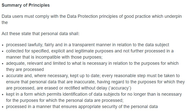 LGA Data Protection Policy: Summary of Principles clause excerpt