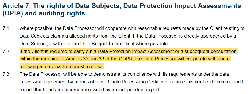 PayByLink Data Processing Agreement: Data Protection Impact Assessment clause