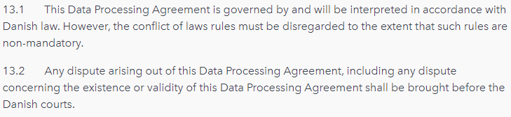 Planday Data Processing Agreement: Governing law clause