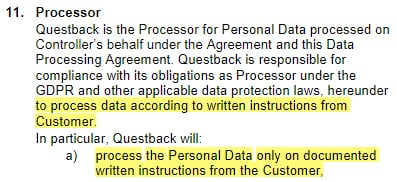 Questback Data Processing Agreement: Processor clause addressing written instructions