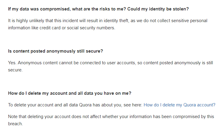 Quora Data Breach Notification Letter important information section