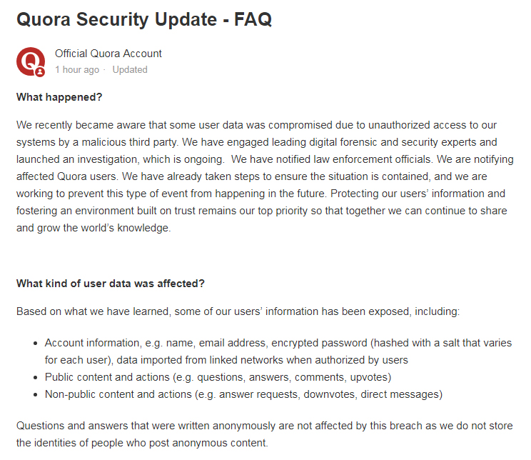 Quora Data Breach Notification Letter intro section