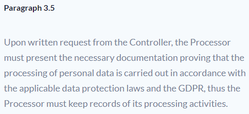 Sleeknote Data Processing Agreement: Recordkeeping requirement clause