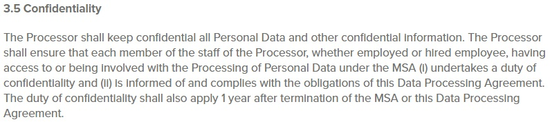 SuperOffice Data Processing Agreement and NDA: Confidentiality clause