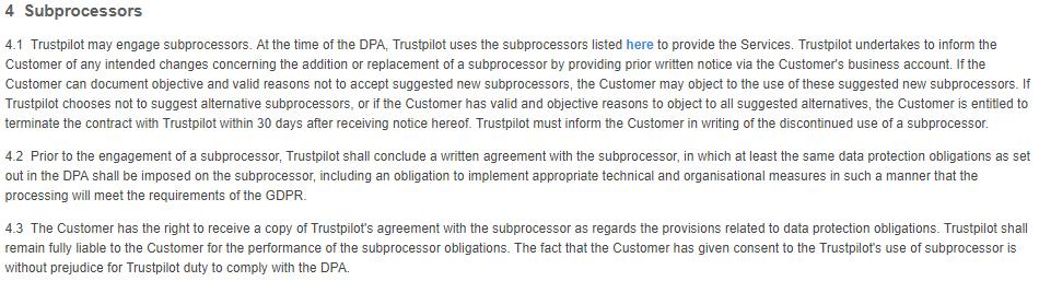 Trustpilot Data Processing Agreement: Subprocessors clause