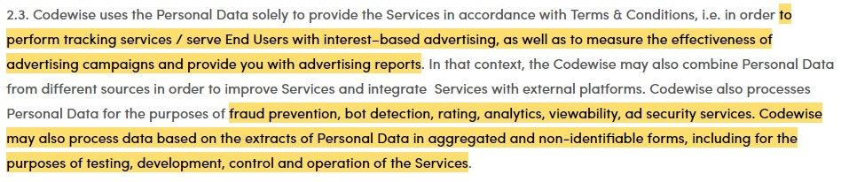 Voluum Data Processing Agreement: Clause discussing purposes for processing personal data