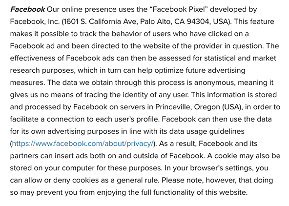 Celonis Privacy Policy: Facebook clause