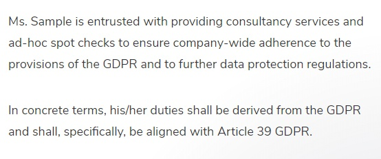Ecomply Sample DPO Appointment Letter: Duties paragraph