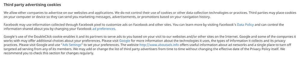 Geocaching Privacy Policy: Third-party advertising cookies clause