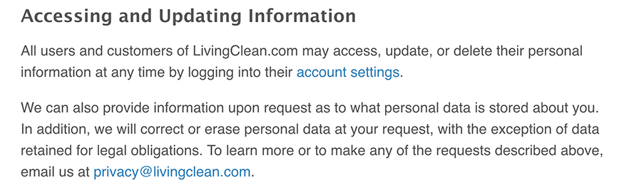 Living Clean Privacy Policy: Accessing and Updating Information clause