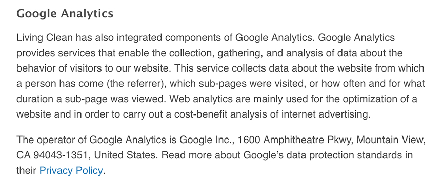 Living Clean Privacy Policy: Google Analytics clause