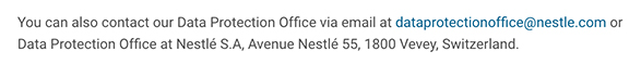 Nestle Privacy Notice: DPO contact clause