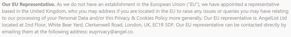 Product Hunt Privacy Policy: EU Representative clause
