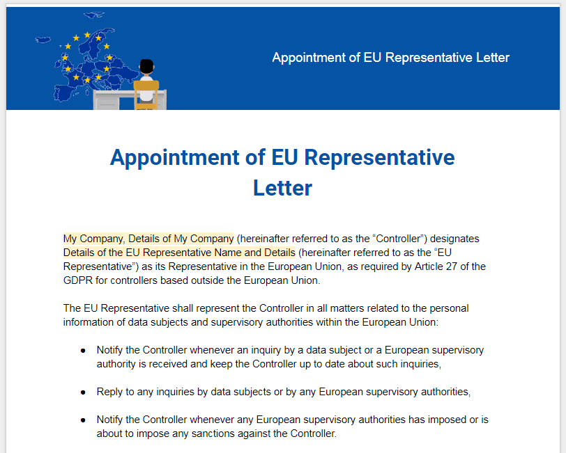 Sample: GDPR Appointment of EU Representative Letter Template