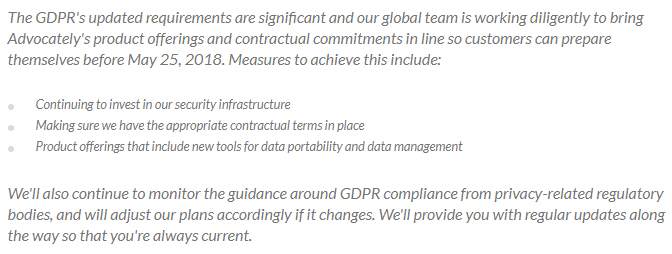 Advocately GDPR statement: Preparing for the GDPR section