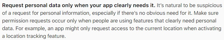 apple-developer-human-interface-guidelines-request-only-clearly-needed-personal-data-section