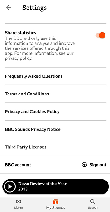 BBC Sounds Android app Settings menu screen