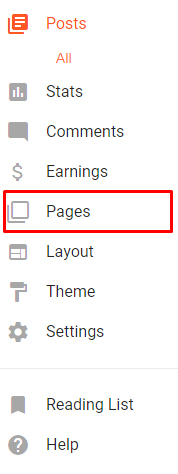 Blogger dashboard menu with Pages highlighted