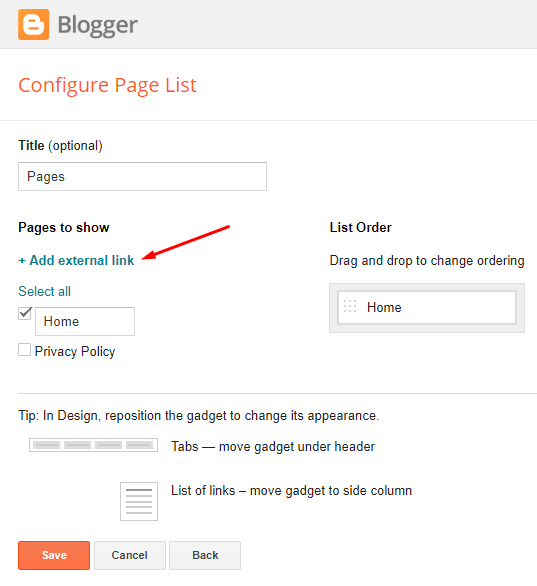 Blogger gadgets Configure Page List screen with Add external link highlighted