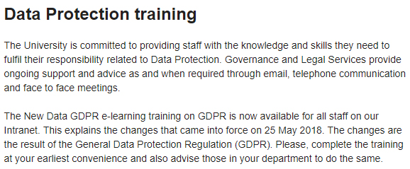 Canterbury Christ Church University Data Protection Policy: Data Protection Training clause