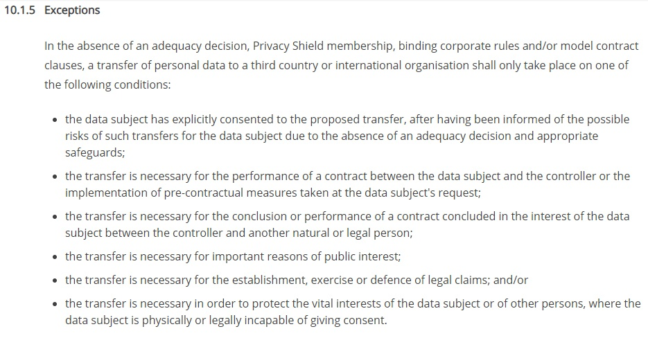Capture Data Protection Policy: Data Transfers Exceptions clause